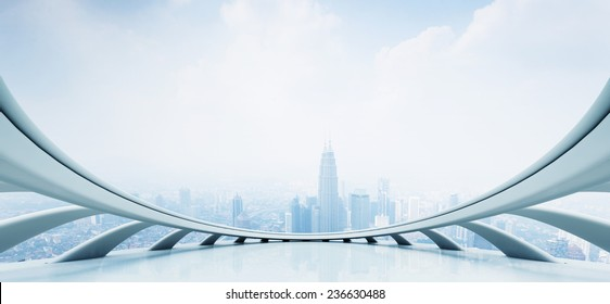 modern skyscraper looking from futuristic style window (created by C4D)