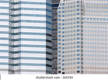Modern skyscrapers.