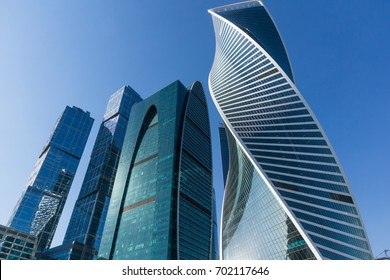 Modern skyscrapers in the business center Moscow City