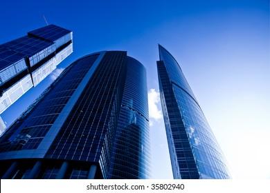 Modern skyscrapers business centre at evening light