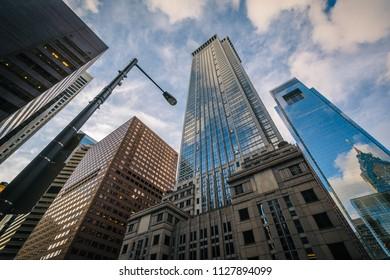 Modern skyscrapers in Center City, Philadelphia, Pennsylvania.