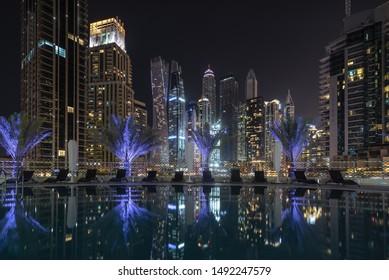 Modern skyscrapers in Dubai Marina.