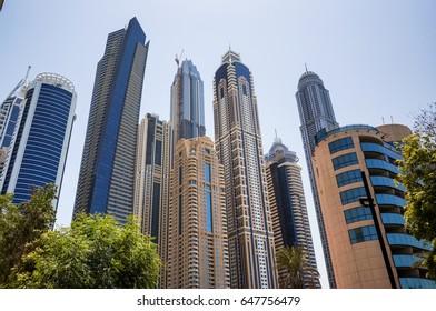 Modern skyscrapers in Dubai. Summer 2016. Dubai Marina