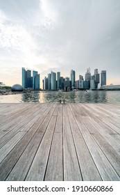 Modern skyscrapers in Marina Bay Singapore.