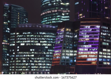 Modern Skyscrapers of Moscow City business cente at night