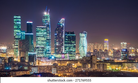 Modern skyscrapers in Moscow-city downtown (Federation tower, Mercury tower etc.), Moscow, Russia - urban background