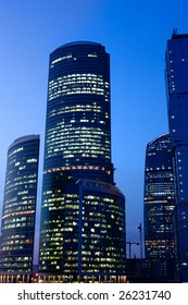 Modern skyscrapers at night. Moscow City. Russia.