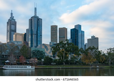 Modern skyscrapers and river view on sunset. Melbourne, Australia