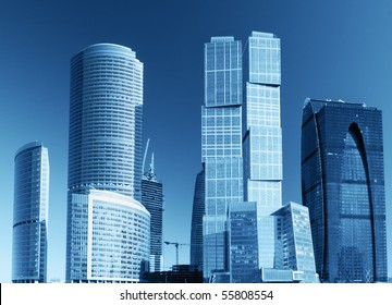 modern skyscrapers and tall buildings of glass and metal