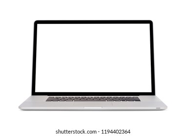 Modern slim design laptop with blank screen, Aluminum material, isolated on white background with clipping path