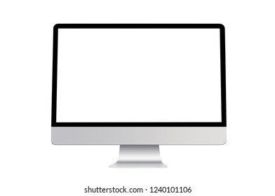 Modern slim desktop computer with blank screen, aluminum material, isolated on white background with clipping path.