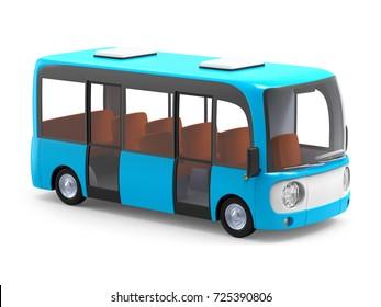 Modern small blue cartoon bus. 3d illustration