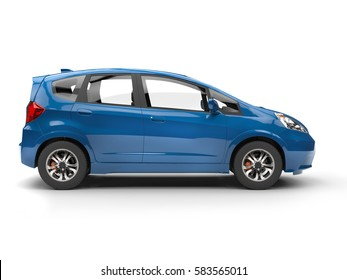 Modern small blue compact car - side view - 3D Illustration