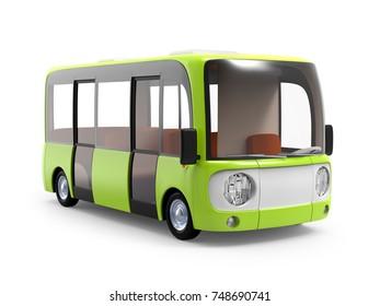 Modern small green cartoon bus. 3d illustration