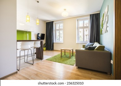 Modern small studio interior with green details