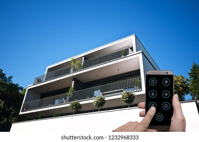 modern smart house is controlled by smartphone