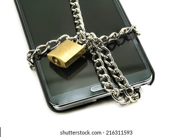 modern smart phone with combination lock padlock. concept of mobile