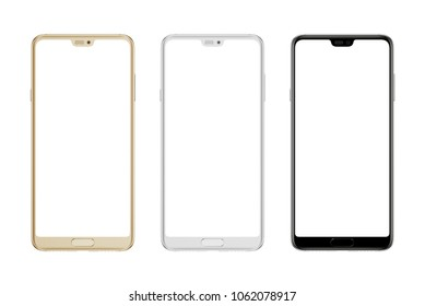 Modern smart phone in gold; silver and black color. Isolated screen and background.