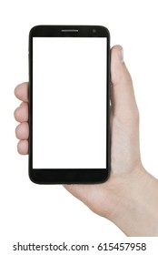 Modern smart phone in hand isolated on white background