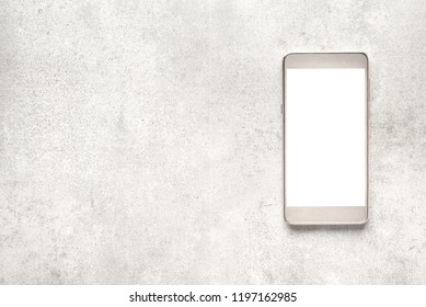 Modern smart phone screen, white touchscreen of cellphone, mockup