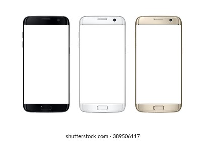 Modern smart phone in three color. White screen for mockup, isolated.
