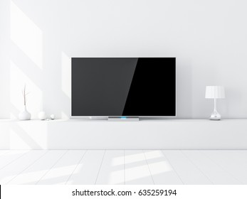 Modern Smart Tv Mockup on stand, white living room. 3d rendering