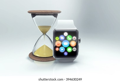 The modern smart watch and old hourglass as symbol of technical progress. 3d generated