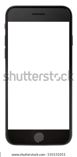 Modern smartphone black color with blank screen isolated on white background