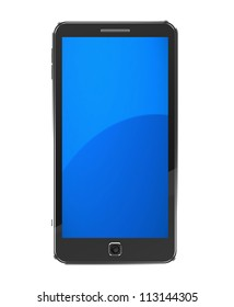 Modern smartphone with blue screen isolated on a white background
