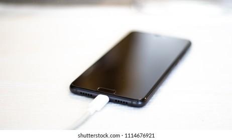 Modern smartphone charging via super quick charge usb tybe c
