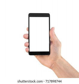 Modern smartphone in hand isolated on white background