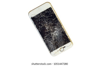 Modern smartphone with highly broken screen isolated on white background.