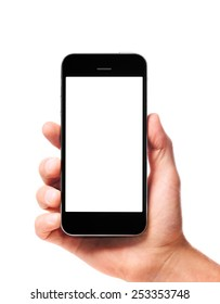 modern smartphone in male hand isolated on white background
