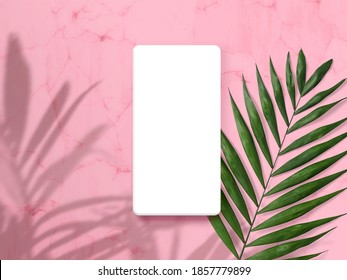 Modern smartphone on pastel colored background. Mock up for game design, mobile application, wallpapers, websites. Plant and shadows.