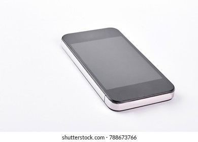 Modern smartphone on white background. Fashion touch screen gadget isolated on white background. High quality mobile device.