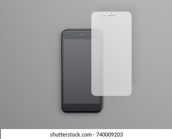 Modern smartphone with screen protect glass on a gray background. 3d rendering
