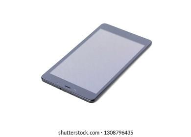 Modern smartphone or tablet. Black device on white background.