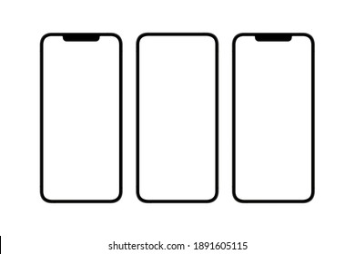 Modern smartphones, different blank screens