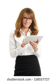 Modern, smiling businesswoman holding tablet in the office. White background.