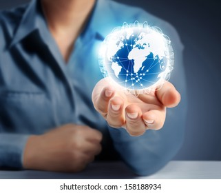 modern social buttons in a hand