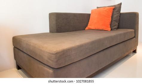 Modern sofa brown fabric in livingroom