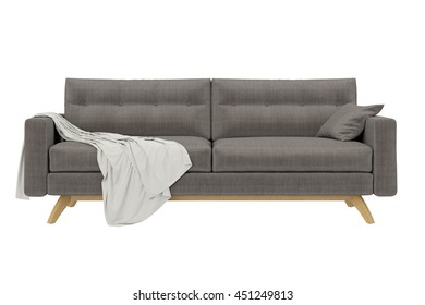 Modern Sofa with draped fabric isolated on white background