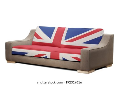 modern sofa with england flag on white background