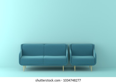 modern sofa in a green living room.Minimal style concept. pastel color style.