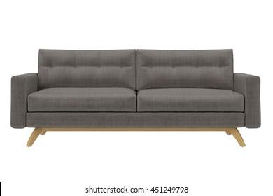 Modern Sofa grey fabric isolated on white background