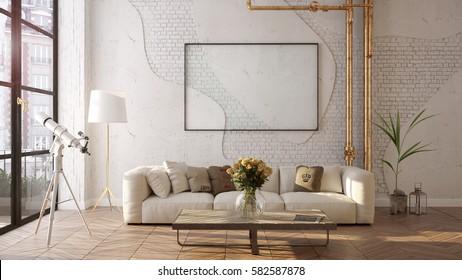 Modern sofa in the loft living room - 3 D render using 3 d s Max
