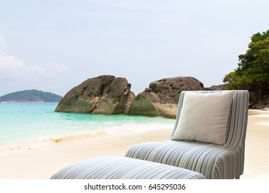 Modern Sofa On The Beach, Concept Background.