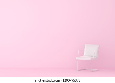 modern sofa in pink living room. Minimal style concept. pastel color style.