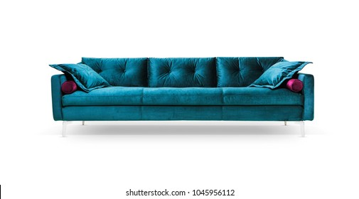 Modern sofa, turquoise - on white background, including clipping path