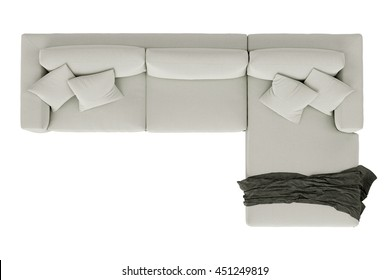 Modern sofa white fabric with draped fabric isolated on white background , top view